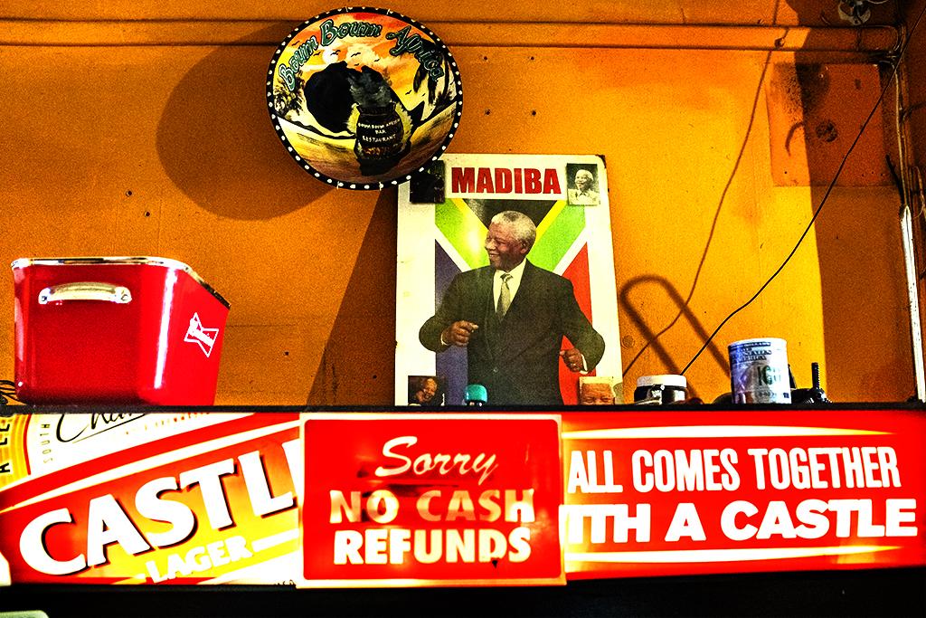 Mandela at Boum Boum Africa Bar in Woodstock on 8-12-21--Cape Town