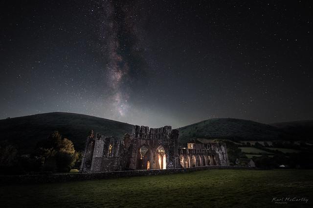 Llanthony Priory under the night sky
