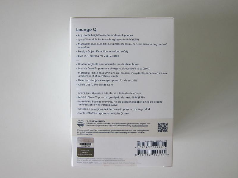 Moshi Lounge Q Wireless Charging Stand - Box Back