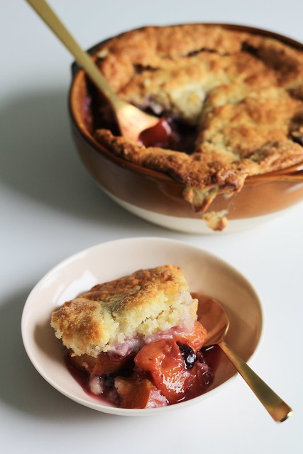 drop-biscuit peach (and blueberry) cobbler