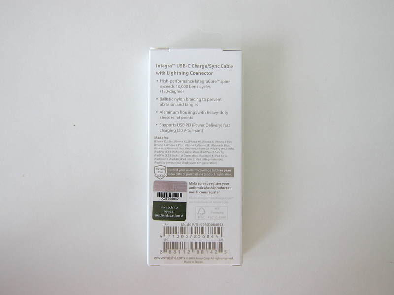 Moshi Integra USB-C to Lightning Cable - Box Back
