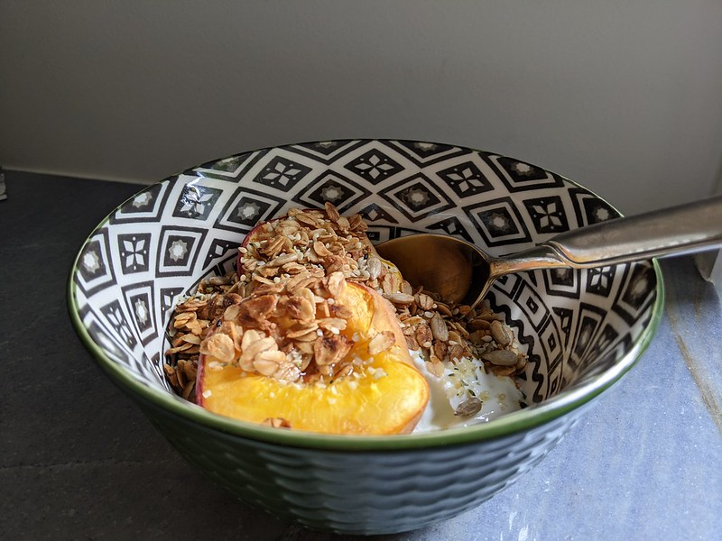 Roasted Peaches with Glazed Sesame Oats