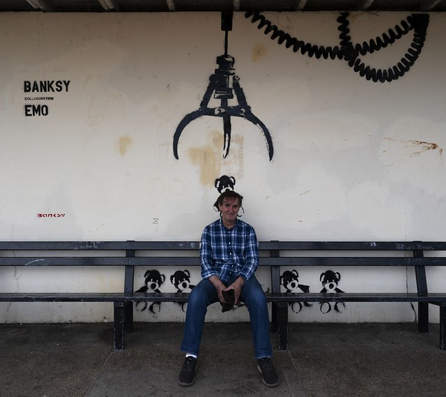 Dave in front of Banksy