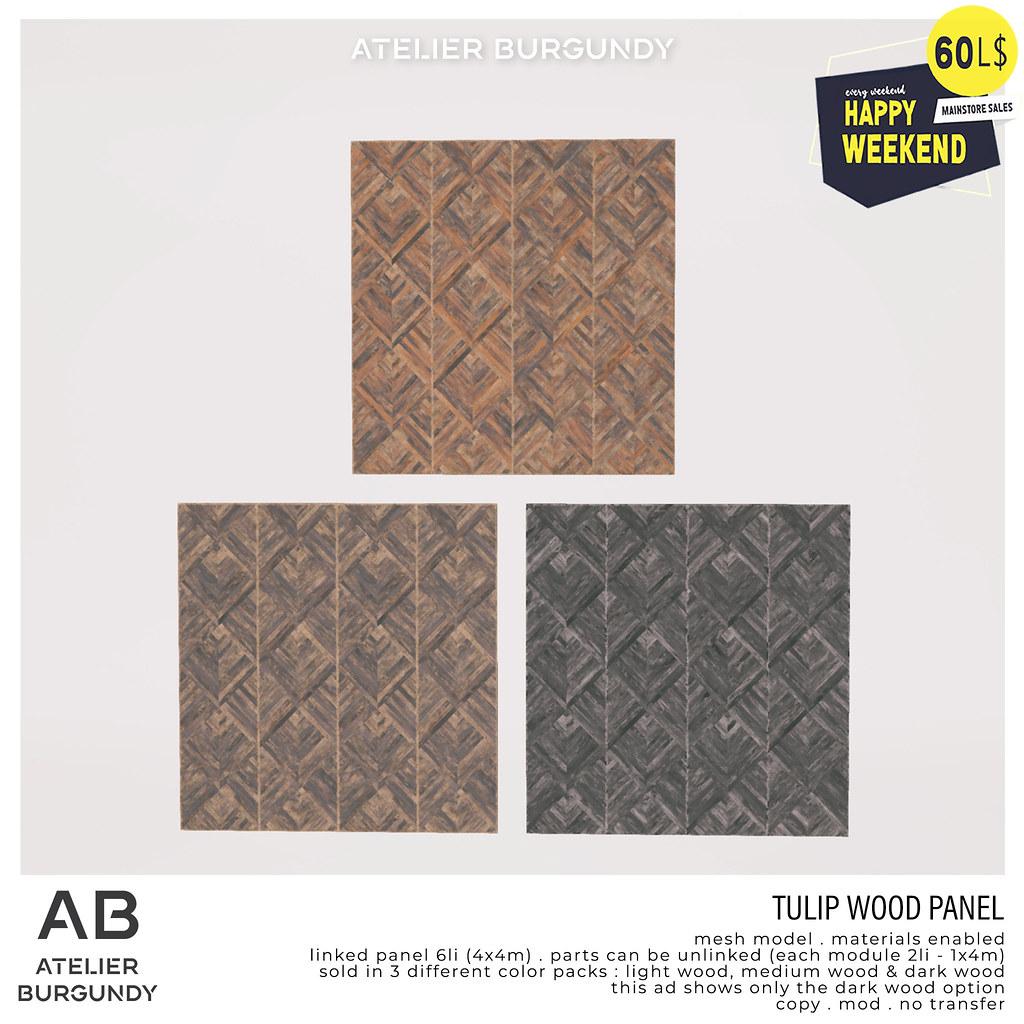 Atelier Burgundy . Tulip Wood Panel HW