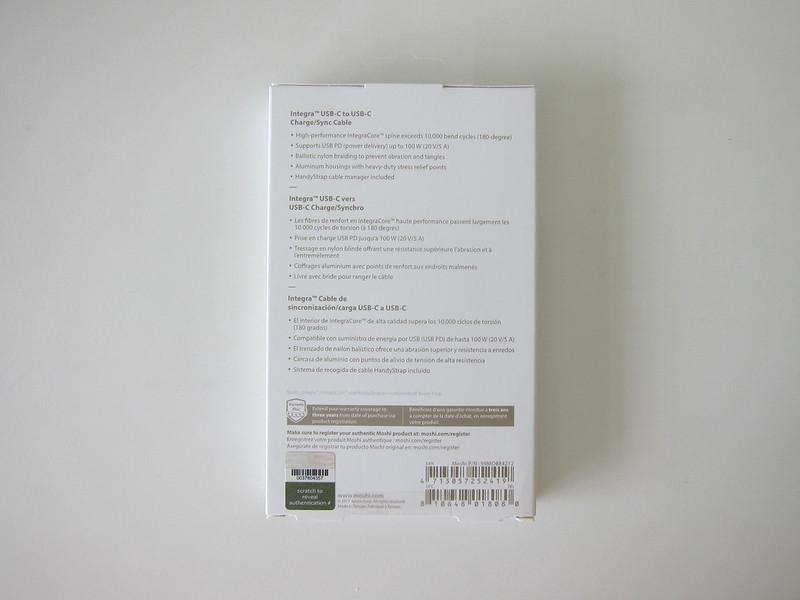 Moshi Integra USB-C Cable - Box Back