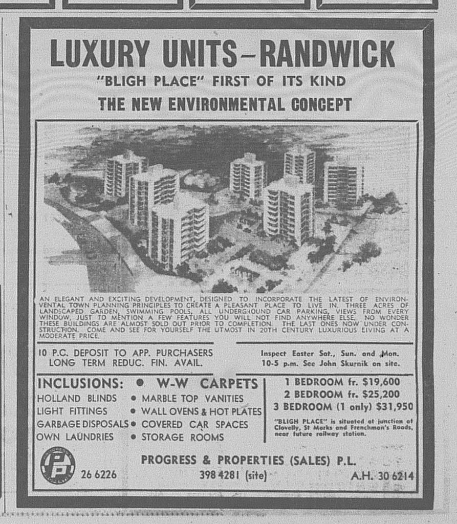 Bligh Place Randwick Ad April 21 1973 daily telegraph 35