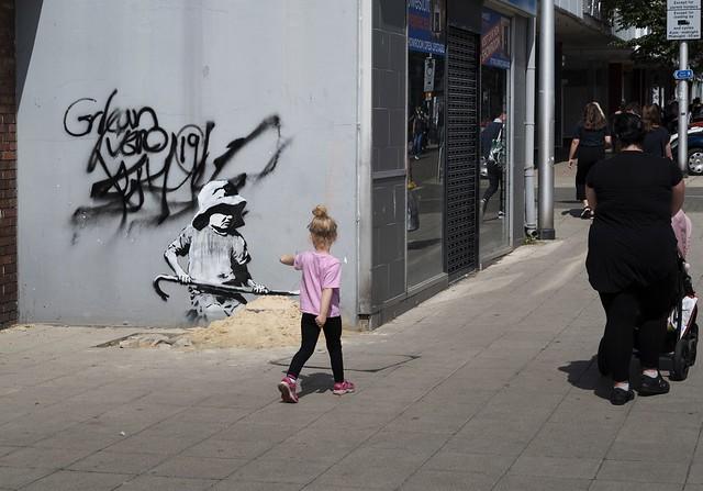 Banksy sandcastle Lowestoft 2021