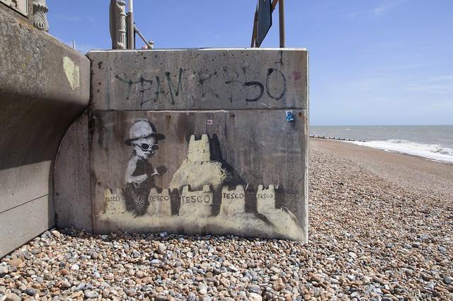 Banksy Tesco Sandcastles, Hastings 2010