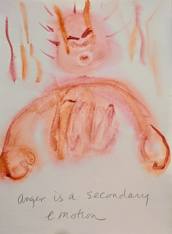 """""""Anger is a Secondary Emotion,"""" by Shay Seaborne. Watercolor and mental hospital pencild"""