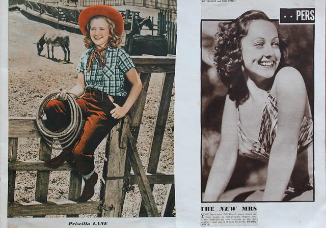 1930s 'Film Stars' Scrapbook - Page 9 - Priscilla Lane, Diana Lewis (The new Mrs Bill Powell)
