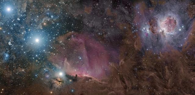 Orion -02- Cinturon de Orin -01- Nebulosa de la La Llama y de la Cabeza de Caballo 04 Con El Corredor y Las Nebulosa de Orion