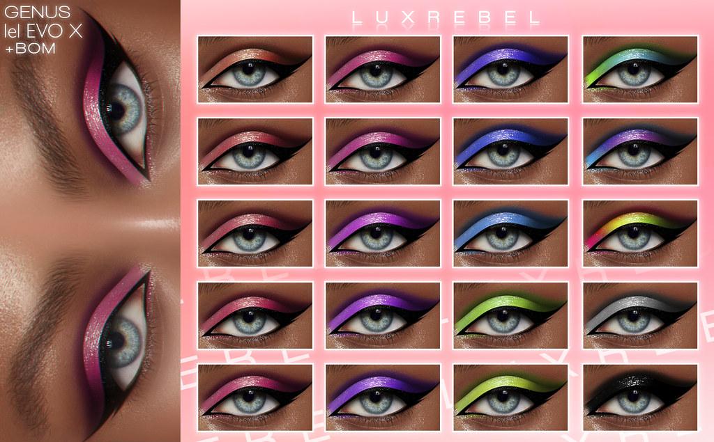 NEW! LUXREBEL ''Dream Lizzy'' Eyeshadow [GENUS,LELUTKA EVO X,BOM] @CAKEDAY