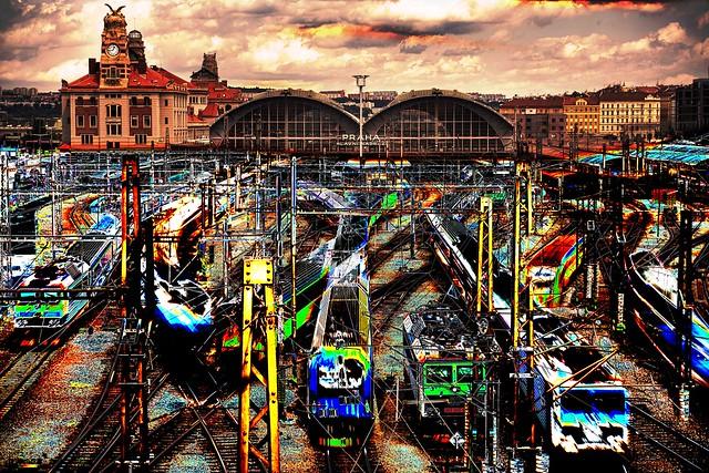 Busy railway station