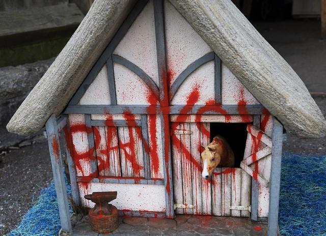 Banksy graffiti house Merrivale Model Village