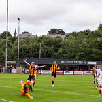 Marcus Goodall (right) nets his first goal for the club
