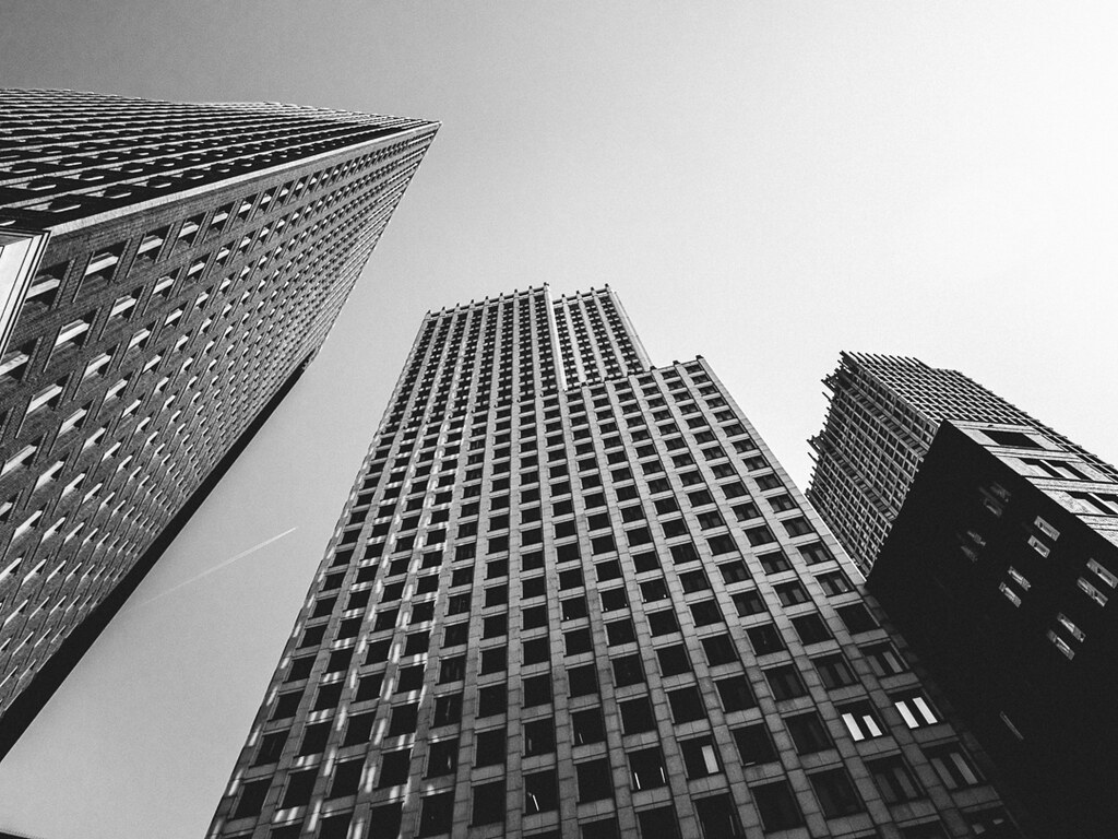Skyscrapers in Tha Hague, shot looking up in black and white