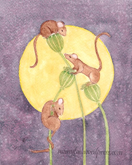 three brown mice