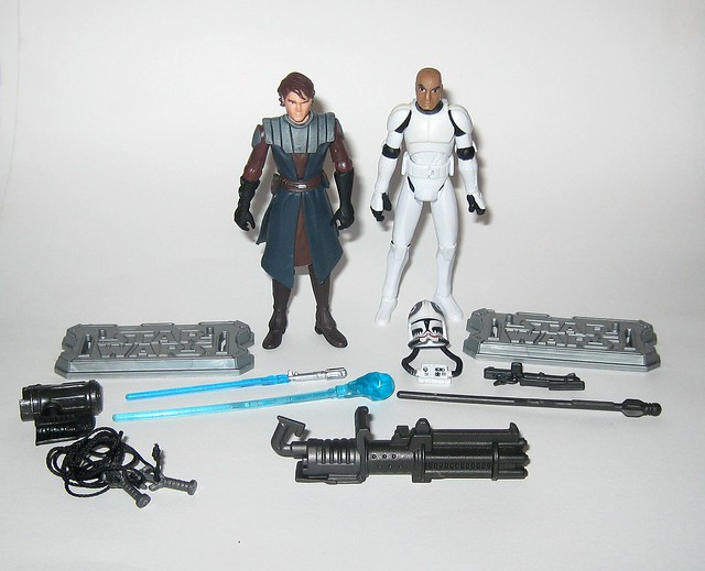 anakin skywalker and clone pilot matchstck from star wars the clone wars shadow of malevolence 2 pack red and white card 2009 hasbro a