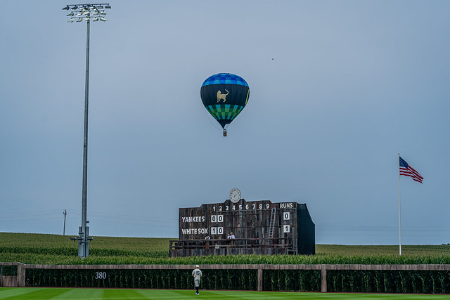 Hot Air Balloon with Scoreboard at MLB Stadium at Field of Dreams
