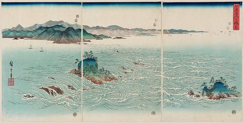 Hiroshige. 1857. Tríptico de los remolinos de Awa