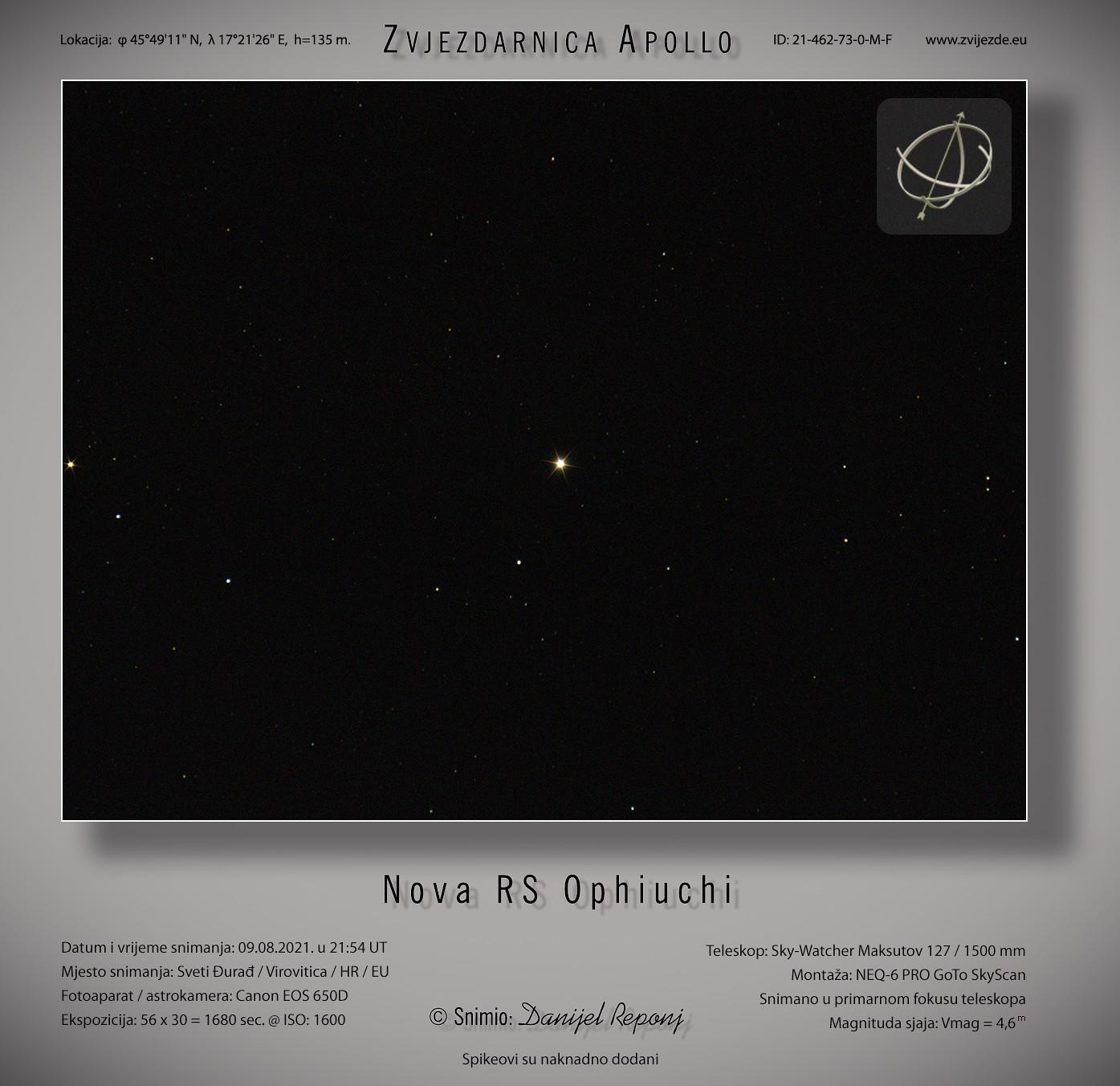 Nova RS Ophiuchi, 9.8.2021.