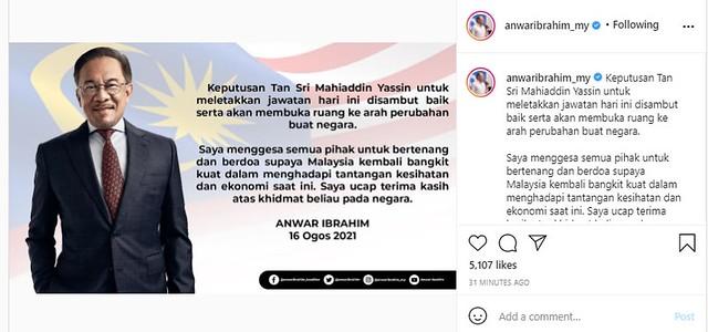 Selepas Muhyiddin Umum Letak Jawatan, Ini Yang Terjadi Di Instagram Anwar Ibrahim