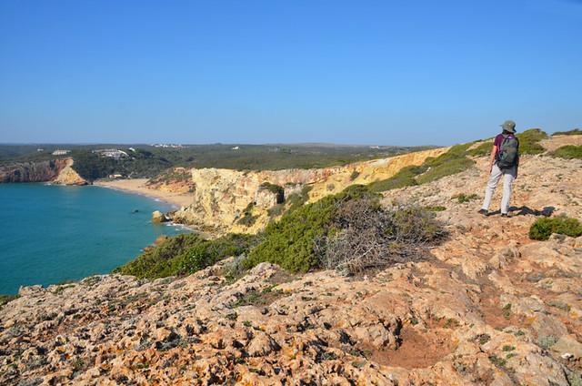 Looking over Praia do Zavial, Algarve, Portugal