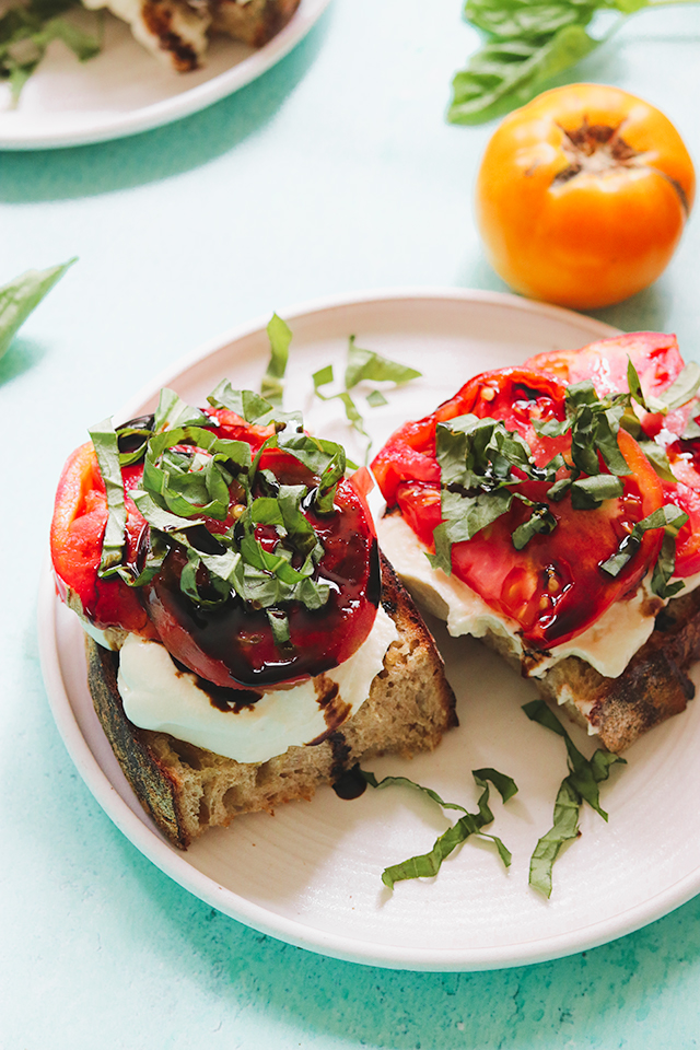 Whipped Ricotta Toast with Ripe Heirloom Tomatoes