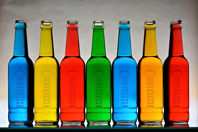 Row of Glass Bottles with Multicolored Liquid (Explore 2021/08/17)