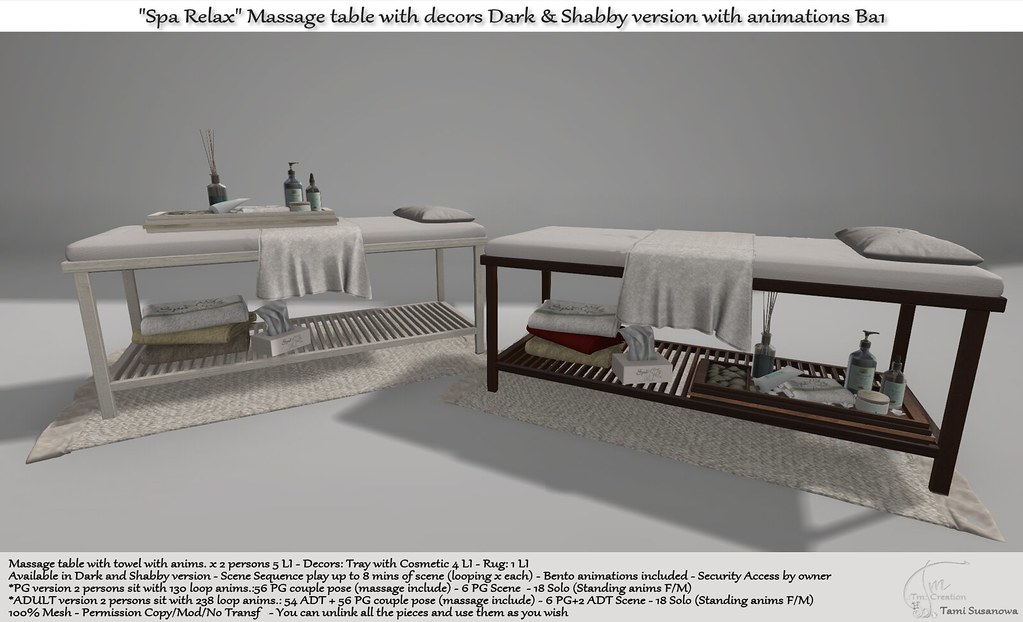 """.:Tm:.Creation """"Spa Relax"""" Massage table with decors Dark & Shabby version Ba1"""