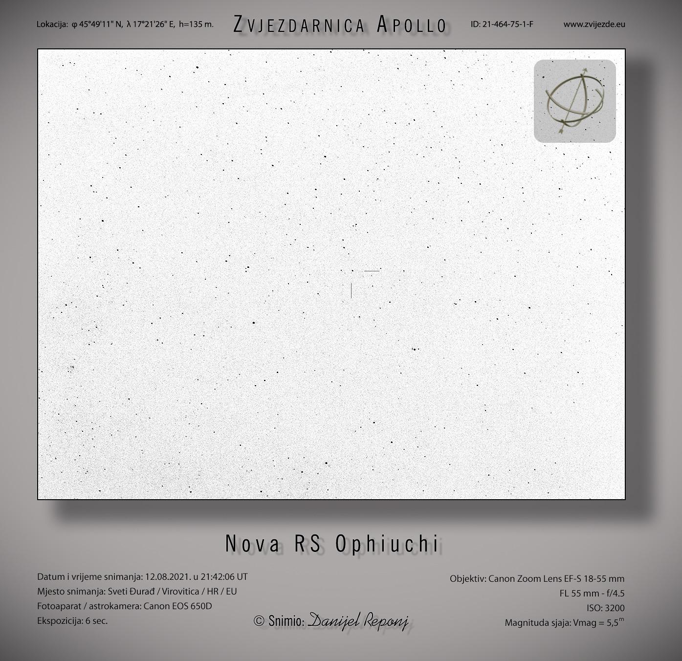 Nova RS Ophiuchi, 12.8.2021.