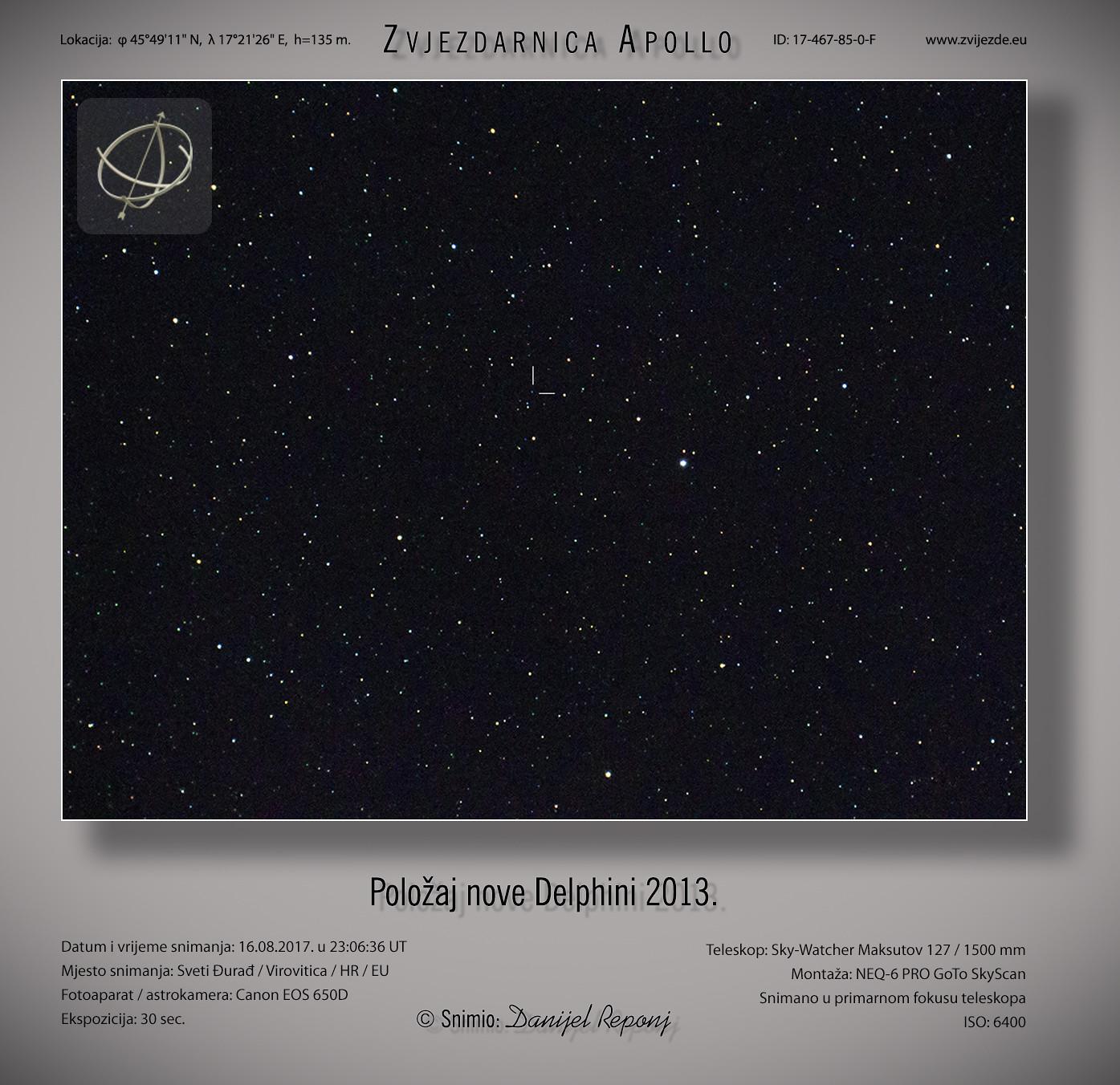Položaj nove Delphini 2013, 16.8.2017.