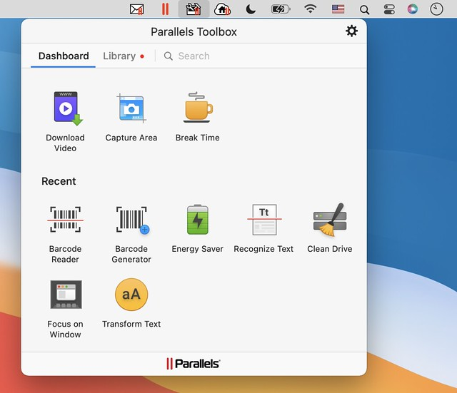 1_Parallels Toolbox for Mac Dashboard