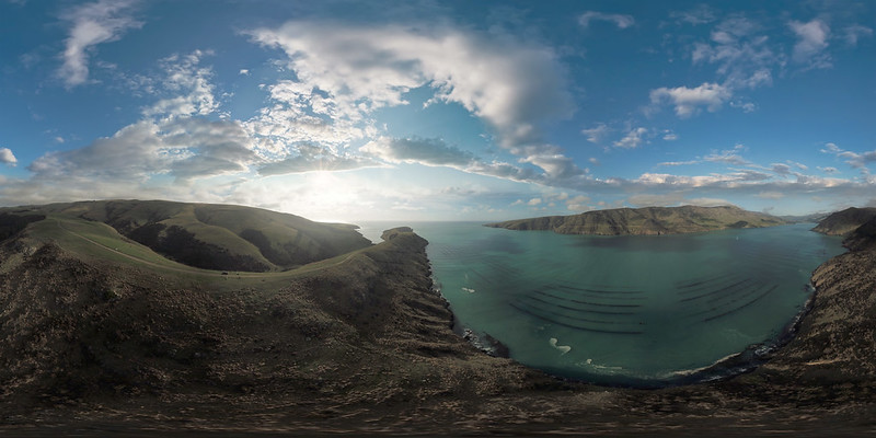 Pigeon Bay & Little Pigeon Bay, Banks Peninsula 360 VR, view as single image for VR view