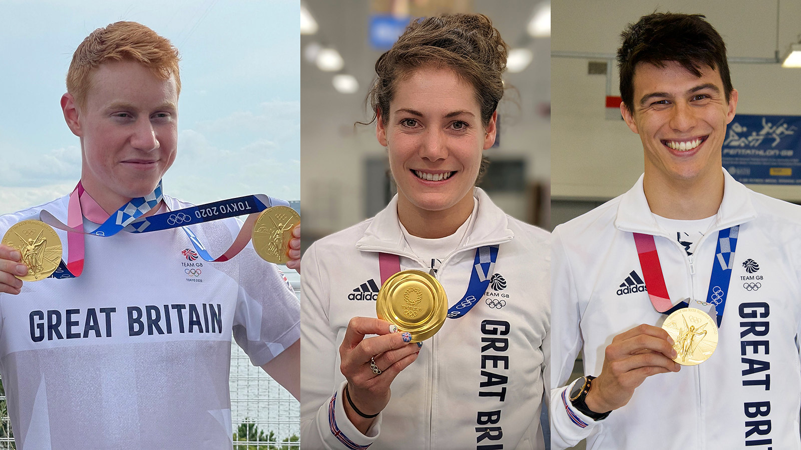 Tom Dean, Kate French and Joe Choong with their Olympic gold medals