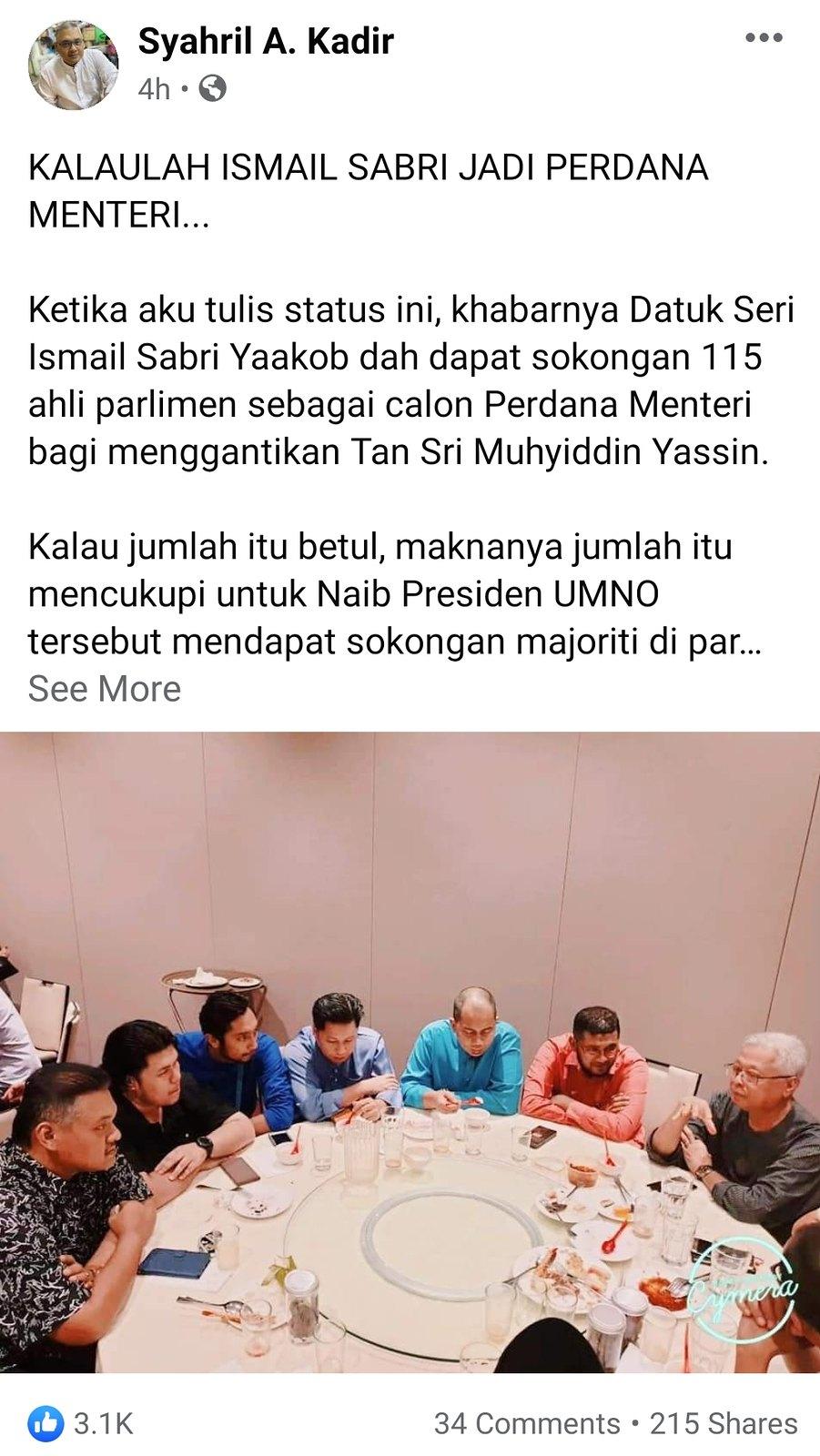 Wartawan Ini Dedah Apa Akan Jadi Jika Ismail Sabri Menjadi Perdana Menteri