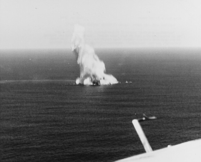 German U-Boat  under attack  by aircraft from convoy Escort Carrier  July 16th 1943.