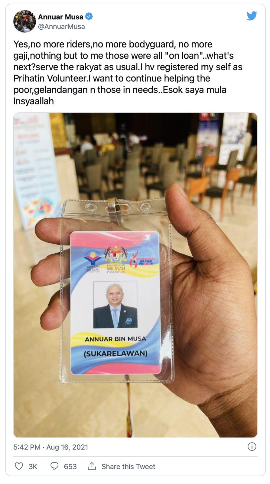&Quot;Tiada Bodyguard, Tiada Gaji&Quot; Bekas Menteri Wilayah Kini Sukarelawan Prihatin