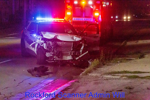 Rockford Police Squad Car Accident in Rockford, Illinois August 2021
