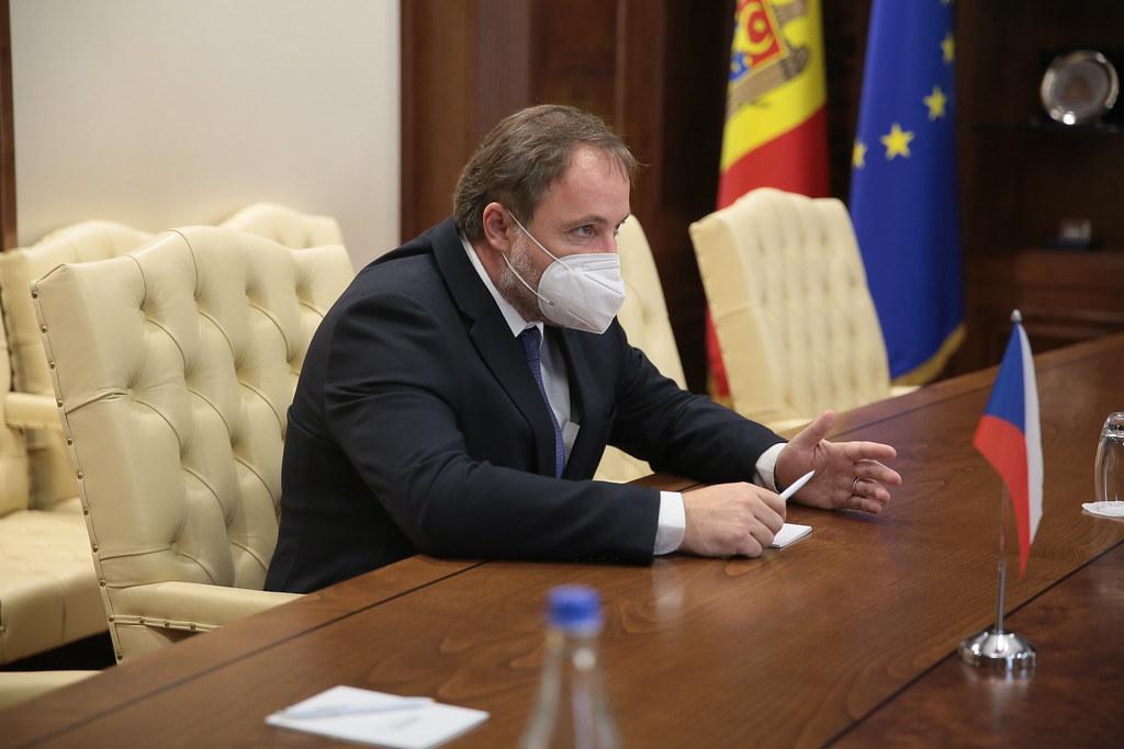 18.08.2021 Întrevederea Președintelui Parlamentului, Igor Grosu, cu ambasadorul Republicii Cehe în Moldova, Stanislav Kázecký