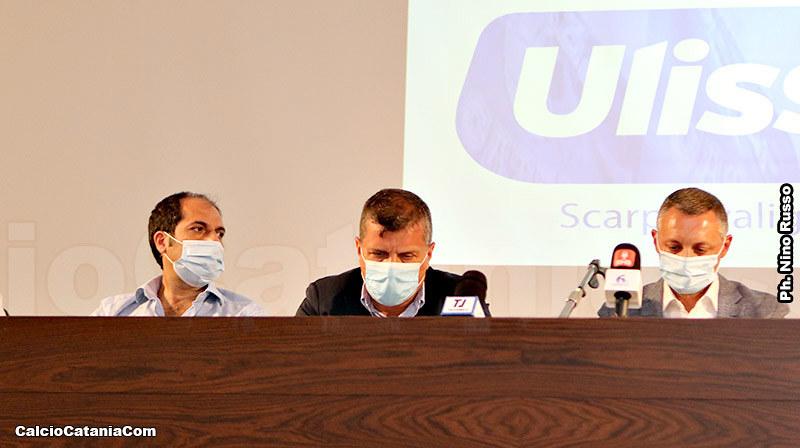 Nicolosi, Le Mura e Ferraù durante la presentazione della maglie 2021/22