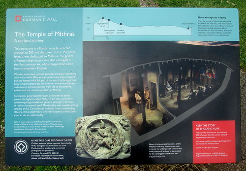 Temple Information Board, Mithraic temple, Carrawburgh, Northumberland