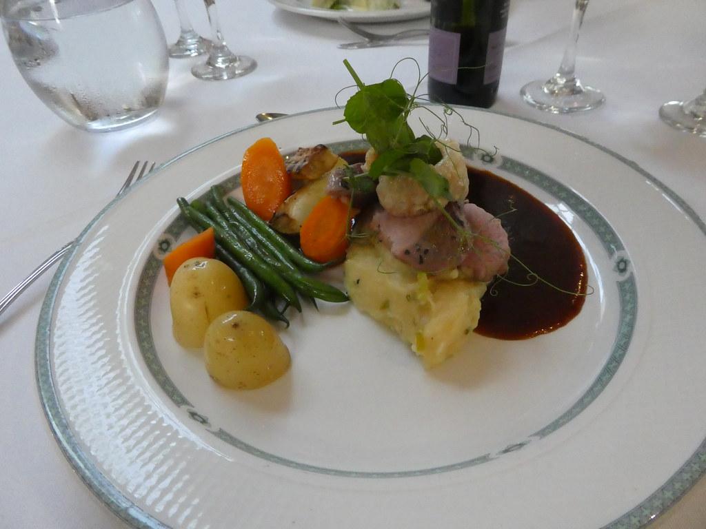 Roast pork fillet with crispy crackling, Gibbon Bridge Hotel