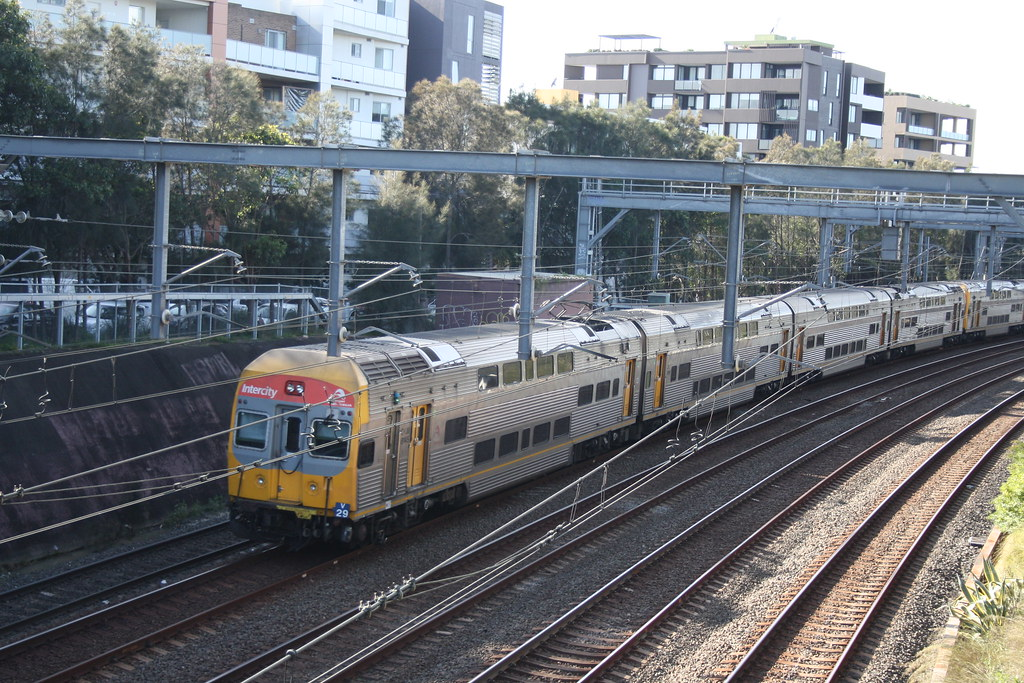 Up western interurban train at Bridge street homebush 6 July 2921