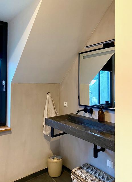 Boerderijstijl woning badkamer landelijk stoer