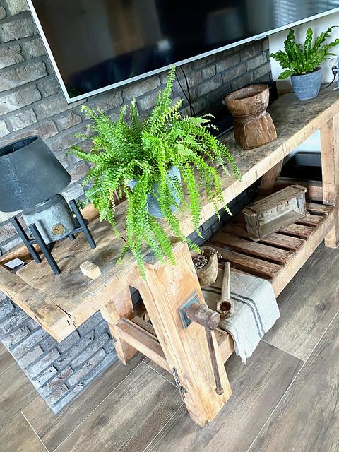 Oude houten werktafel als tv-meubel poer varen in pot