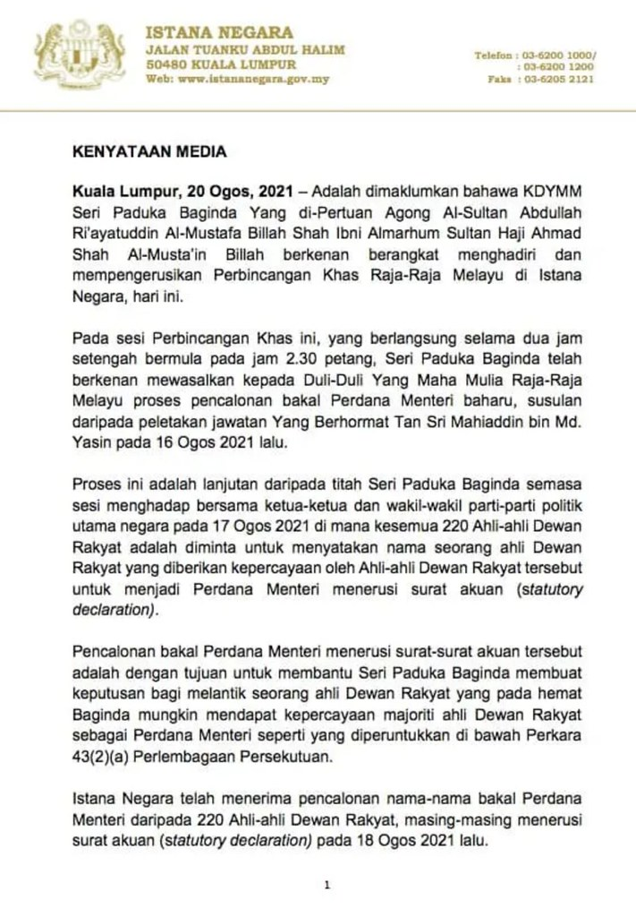 Datuk Seri Ismail Sabri Sah Dilantik Perdana Menteri Ke-9