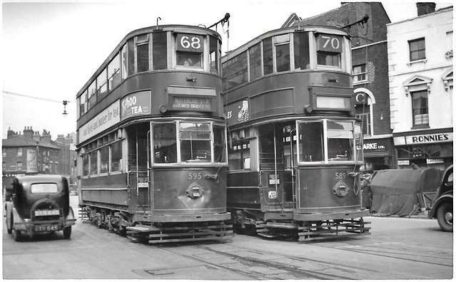 London Transport trams Nos. 595 an 589