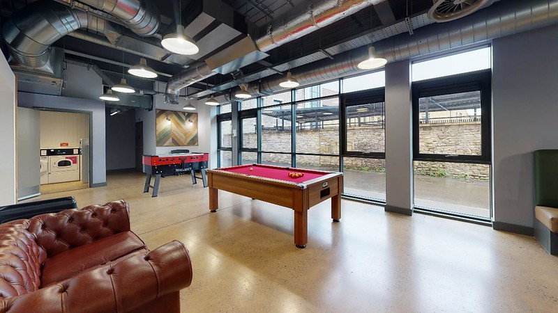 The games area in the basement of Twerton Mill.