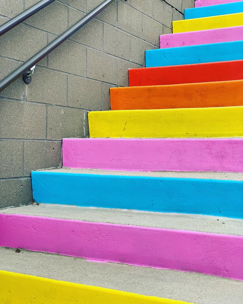 Concrete stairs painted in rainbow colors